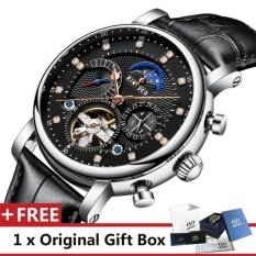 ซื้อ Kinyued Top Brand Mechanical Watch Luxury Men Business Watchs Genuine Leather Band 3Atm Waterproof Calendar Function Mens Famous Male Watches Clock For Men Wrist Watch J025P Intl ถูก จีน
