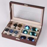 ราคา กล่องใส่นาฬิกาและกล่องแว่นตา ใส่นาฬิกา 6 เรือน แว่นตา 3 ช่อง หุ้มหนังPuอย่างดี ถูก