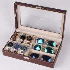 ทบทวน กล่องใส่นาฬิกาและกล่องแว่นตา ใส่นาฬิกา 6 เรือน แว่นตา 3 ช่อง หุ้มหนังPuอย่างดี
