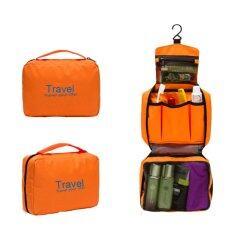 ราคา กระเป๋าจัดระเบียบอุปกรณ์อาบน้ำและเครื่องสำอาง มีที่แขวน ใช้งานสะดวก สีส้ม ใหม่