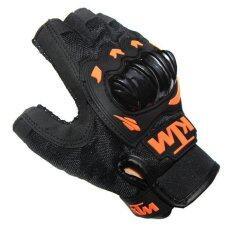โปรโมชั่น Ktm Motorcycle Gloves Orange Green Color Half Finger Protect Hands Guantes Size L Intl