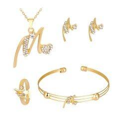 Kuhong ประณีตตัวอักษรจี้สร้อยคอแหวนต่างหูกำไลชุดเครื่องประดับ-นานาชาติ.