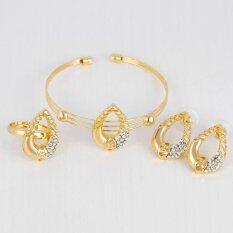 Kuhong Women Kc Gold Plated Necklace Bracelet Ring Earrings Pendant Jewelry Set Intl ถูก