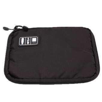 ข้อมูลสายกระเป๋าออแกไนเซอร์ลาลังอุปกรณ์ดิจิทัลกรณีหูฟังสีดำ