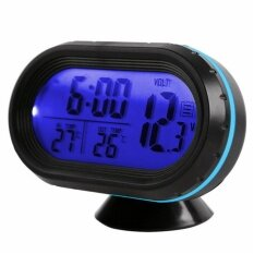 Lcd Digital Car Clock Thermometers Voltage Alarm Clock 12v-24v Supply Luminous Car Electronic Clock - Intl.
