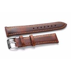 ราคา สายนาฬิกา สายหนัง สำหรับ นาฬิกา Leather Classic Burgundy 18Mm สีน้ำตาลแดง Overwrist ใหม่