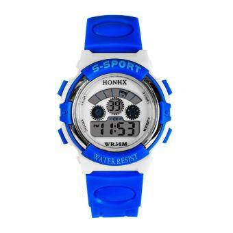 LED Digital Electronic Multifunction Waterproof Children Watch (Deep blue ) - intl
