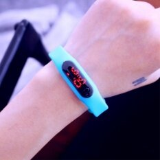 Led Watch นาฬิกาแอลอีดี สายเรซิ่น รุ่น Colorful สีฟ้า Haskins ถูก ใน กรุงเทพมหานคร