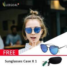 ราคา Leegoal แฟชั่นผู้หญิงแว่นกันแดดครีมกันแดดป้องกันรังสี Uv ฟิล์มแว่นตากันแดดสี สีดำกับสีน้ำเงิน Leegoal เป็นต้นฉบับ