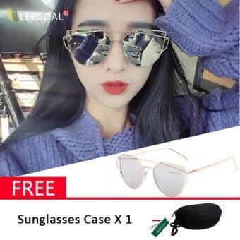เทคนิคซื้อของออนไลน์ leegoal แฟชั่นผู้หญิงแว่นกันแดดครีมกันแดดป้องกันรังสี UV ฟิล์มแว่นตากันแดดสี - สีทองและสีเงิน