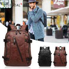 ขาย Leegoal Men S Vintage Backpack Sch**l Bag Travel Satchel Pu Leather Laptop Bag Rucksack Brown Intl Leegoal เป็นต้นฉบับ