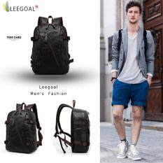 ส่วนลด สินค้า Leegoal Men S Vintage Backpack Travel Satchel Pu Leather Laptop Bag Rucksack Black Intl