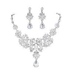 ขาย Leegoal Waterdrop Leaves Style Crystal Bridal Jewelry Set Necklace Earrings Silver Intl Leegoal ถูก