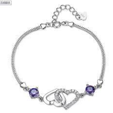 ราคา Leyi Ms Natural Amethyst Heart Shaped Bracelet Intl เป็นต้นฉบับ