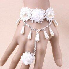 ซื้อ L*l*t* Wedding Pearl And Flower Lace Bracelet With Ring For Women Intl ออนไลน์ ถูก