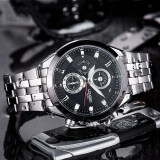 ราคา Longbo 8650 ชายแฟชั่นรัดสเตนเลสธุรกิจนาฬิกาควอทซ์กีฬาสำหรับคน Longbo ใหม่