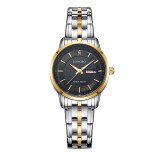 ราคา Longbo ยี่ห้อนาฬิกาข้อมือนาฬิกาสเตนเลสหญิงกีฬาความคล้ายคลึงผลึกแบบนาฬิกานาฬิกาหรูทอง และสีดำ 88146 Longbo เป็นต้นฉบับ