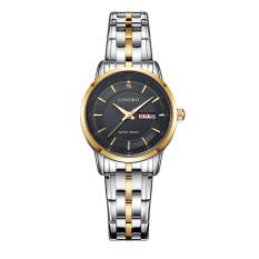 โปรโมชั่น Longbo ยี่ห้อนาฬิกาข้อมือนาฬิกาสเตนเลสหญิงกีฬาความคล้ายคลึงผลึกแบบนาฬิกานาฬิกาหรูทอง และสีดำ 88146
