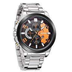 Longbo แฟชั่นนาฬิกาสายโลหะนาฬิกาควอทซ์ชายกีฬานาฬิกาข้อมือนาฬิกาทหารส้ม เป็นต้นฉบับ