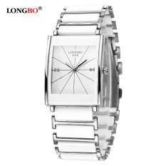 ราคา Longbo หรูหรากันน้ำสีดำนาฬิกาข้อมือนาฬิกาลานเซรามิกคู่ธุรกิจนาฬิกาควอทซ์เมิน 8395B ใหม่