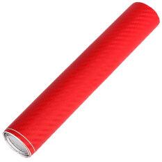 ราคา Lovesport 20 X50 3D Carbon Fiber Vinyl Car Wrap Sheet Roll Film Sticker Red