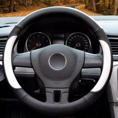 โปรโมชั่น Luowan Car Steering Wheel Covers Diameter 14 Inch 35 5 36Cm Pu Leather For Full Seasons Black And White S Intl Luowan
