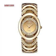โปรโมชั่น Luxury Brandquartz Watch Women Gold Steel Bracelet Watch 30M Waterproof Rhinestone Ladies Dress Watch Relogio Feminino Intl