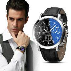 Luxury Fashion Faux Leather Mens Blue Ray Glass Quartz Analog Watches Black Intl ถูก