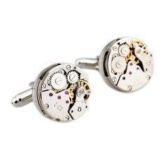 โปรโมชั่น Luxury Mens Silver Watch Movement Cufflinks Clockwork Steampunk Cuff Links ใน จีน