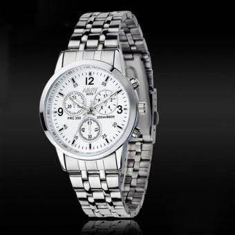 Luxury โลหะกันน้ำไม่ขึ้นสนิมนาฬิกาข้อมือผู้หญิงควอตซ์สีขาว - INTL