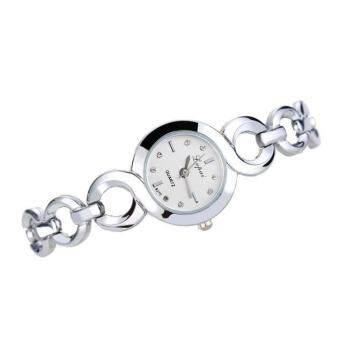 นาฬิกาข้อมือผู้หญิง LVPAI นาฬิกาข้อมือนาฬิกาควอตซ์นาฬิกาสุภาพสตรีชุดของขวัญเงินสีขาว-
