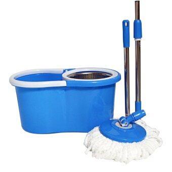 M-232111 ชุดไม้ม๊อบถูพื้น สีฟ้า ถังปั่นสแตนเลส