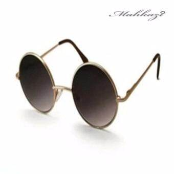 Mahkazi แว่นกันแดดผู้หญิง แว่นตาแฟชั่น แว่นตาเกาหลี แว่นตาแฟชั่นเกาหลี แว่นตาแฟชั่นกันแดดผู้หญิง รุ่นGYBL25 (เลนส์สีดำทรงกลมกรอบเงิน)-