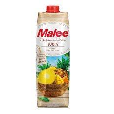 Malee น้ำสับปะรด ผสมน้ำผลไม้รวม 100% (ตรามาลี) สับปะรดนางแล จังหวัดเชียงราย ขนาด 1000 ml. (12กล่อง)