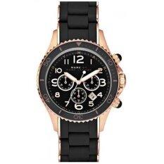 ขาย Marc Jacobs Pelly Chronograph Black Dial Rose Gold Tone Steel Ladies Watch Marc By Marc Jacobs ถูก