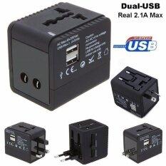 ราคา Mastersat หัวแปลงปลั๊กไฟใช้ได้ทั่วโลก สำหรับนักเดินทาง มี 2 Usb แบบ 2 1A ชาร์จเร็ว ใช้กับแท็บเล็ตได้ด้วย Universal Travel Adaptor With 2 Usb Mastersat เป็นต้นฉบับ