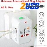 ราคา Mastersat Universal Travel Adaptor With 2 Usb หัวแปลงปลั๊กไฟใช้ได้ทั่วโลก สำหรับนักเดินทาง มี Usb ใช้กับมือถือ ได้ด้วย Mastersat