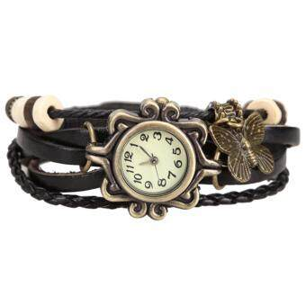 MATTEO กำไล นาฬิกาข้อมือ สายหนังถักสไตล์วินเทจ 156ZX - สีดำ