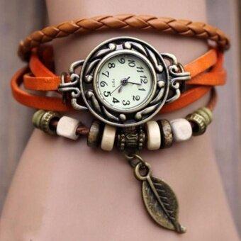 MATTEO กำไล นาฬิกาข้อมือ สายหนังถักสไตล์วินเทจ LEAF - สีส้ม