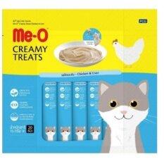 Me-o Creamy Treats Chicken & Liver 15g x 20 units (3 Packs)   มีโอ ขนมแมวเลีย รสไก่และตับ บรรจุแพ็คละ 20 ซอง ซองละ 15 กรัม (จำนวน 3 แพ็ค)