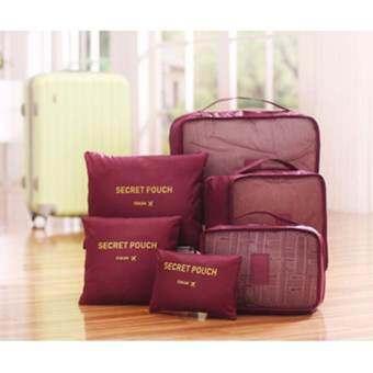 meet กระเป๋าจัดระเบียบเสื้อผ้าสำหรับเดินทาง 6 sets travel Organizers Packing Cubes Luggage Organizers Compression Pouches - Wine Red (เซ็ท 6 ชิ้น)-