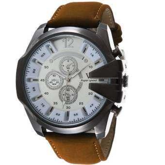 MEGA Luxury Quartz Waterproof Leather Watchband Outdoor Fashion Analog Wristwatch หรูหรานาฬิกาข้อมือ-