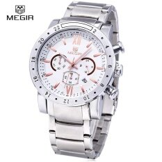 ส่วนลด สินค้า Megir 3008 30M Water Resistance Male Quartz Watch With Date Display Luminous Pointer Leather Band Intl