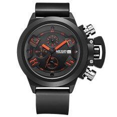 ราคา Megir Branded New Fashion Man Watch Silicone Band Sports Quartz Wristwatch Analog Display Date Chronograph Black White Relogio Masculino ใหม่