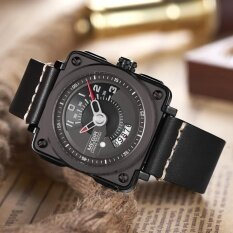 ขาย Megir Fashion Square Dial Military Style Quartz Men Watch Water Proof Genuine Leather Casual Wristwatch Masculino Relogio Intl ถูก ใน ฮ่องกง