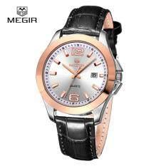 โปรโมชั่น Megir Genuine Leather Men S Dress Quartz Watches Calendar Waterproof Watch Intl ถูก