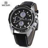 ซื้อ Megir M2015 Men Quartz Watch Chronograph 3Atm Date Display Leather Band Wristwatch Intl ใน สมุทรปราการ