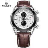 ราคา Megir Men Official Genuine Leather Watch Business Wrist Watches Sports Watch Intl เป็นต้นฉบับ