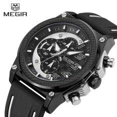 ซื้อ Megir Mn2051G Quartz Men Sport Watch Big Dials Silicone Strap Army Military Watches Clock Men Chronograph Wristwatches Intl Megir ถูก