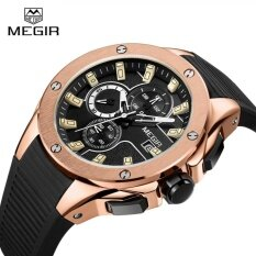 โปรโมชั่น Megir Mn2053G Men Sport Watch Chronograph Silicone Strap Quartz Army Military Watches Intl จีน
